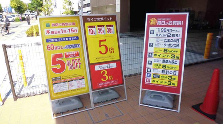 スーパーマーケットの小型サイズA型看板