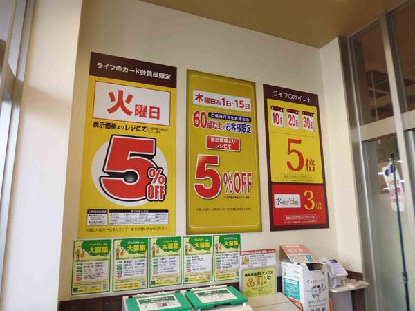 スーパーマーケットのパネル取り付け例【ポイント販促】