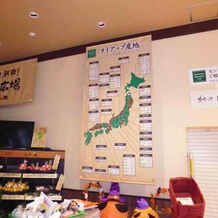スーパーマーケットのタイアップ産地紹介タペストリー