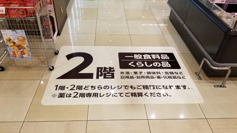 スーパーマーケット店内2階床シートの貼替え前
