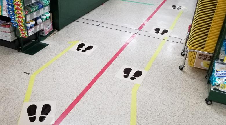 新型コロナウイルス対策足あと床シート実装